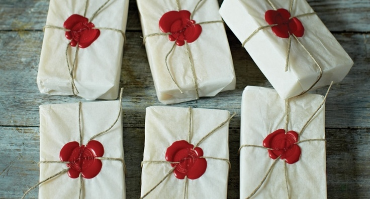 Red wax seals and White paper wrap.