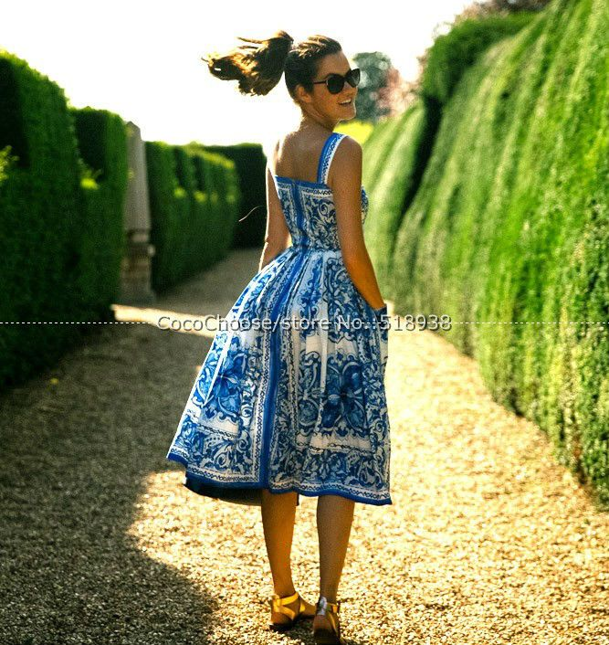 Blue white porcelain print women fashion dress 2016 summer ball gown spaghetti strap casual hot brand dresses pockets buttons