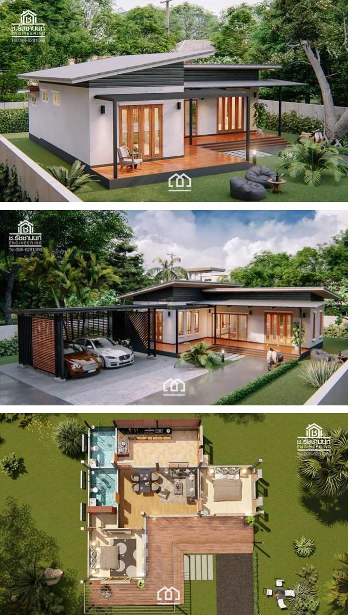 Modern Villa Style Single Storey House With Two Bedrooms Ulric Home Simple House Design Modern Bungalow House House Designs Exterior