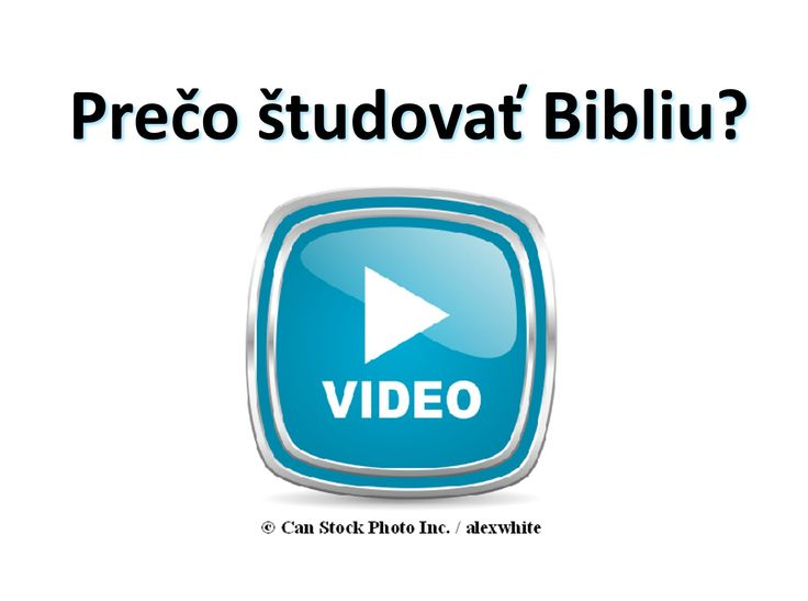 Zistite, ako Biblia môže pomôcť nájsť odpovede na dôležité otázky v živote! Prosím kliknite na tento odkaz sa pozerať na video online, alebo stiahnuť zadarmo výtlačok: https://www.jw.org/sk/jehovovi-svedkovia/studium-biblie-zadarmo/video-preco-studovat-bibliu/  (Learn how the Bible can help you find the answers to important questions in life! Please click on this link to watch the video online, or download a free copy.)