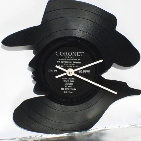 Recycled Vinyl Cowboy Portrait Clock  Handmade and by NotByLaser, $45.00