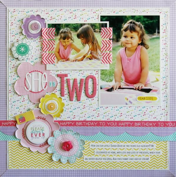 Layout: She is Two by Laura Vegas featuring the Birthday Girl Collection from Bella Blvd