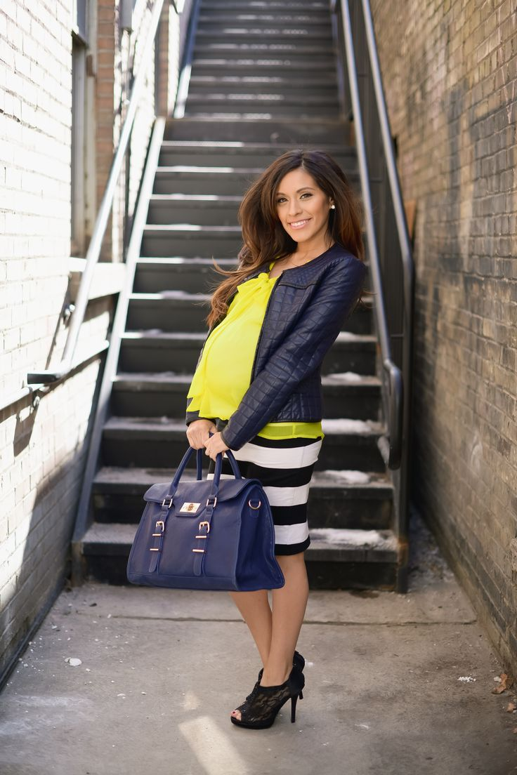 maternity style: striped pencil skirt, bright top, moto jacket. #pregnancy