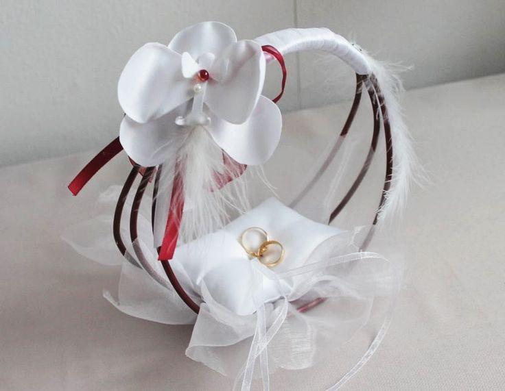 Porte alliances ORCHIDEES bordeaux - Boutique www.crystalcrea.com