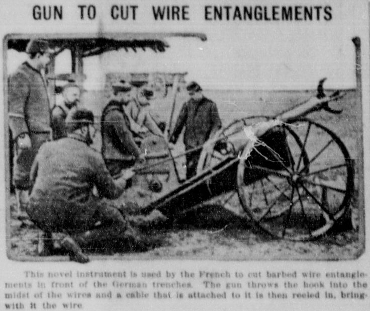"""WWI covered live on Twitter: """"May 20 1915 New French gun developed to destroy wire entanglements in front of German trenches http://t.co/LNIpnwzuwK http://t.co/jhMwip4nb5"""""""