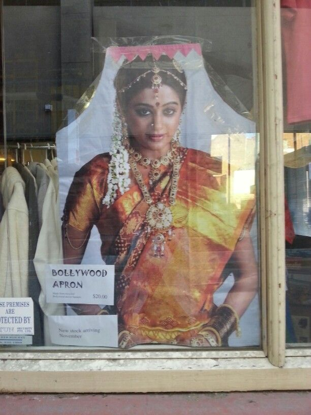 Bollywood apron $20 using Bollywood film advertising billboards. Each one unique and stylish in your own kitchen