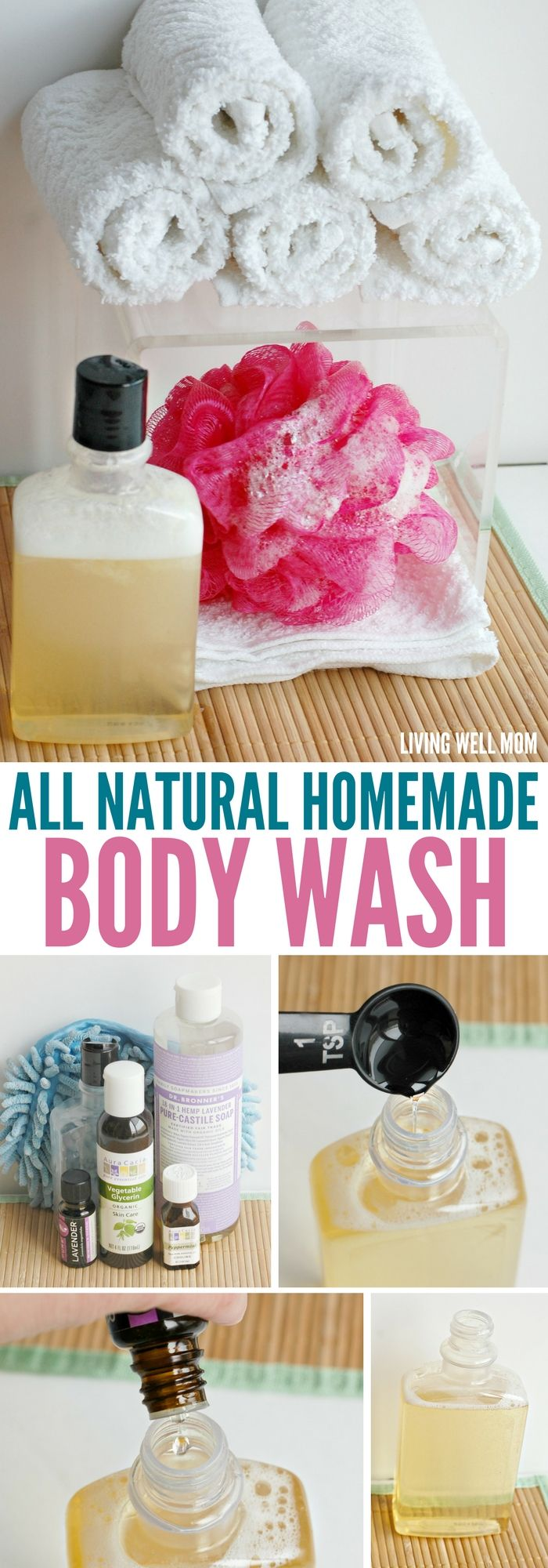 With 3 all-natural ingredients (including essential oils), you'll be amazed at how easy it is to make homemade body wash!
