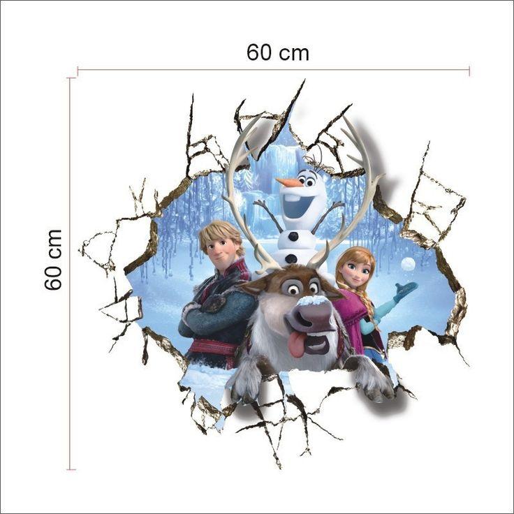 60*60 см Большой Олаф Эльза 2015 Декоративные Наклейки Стены Спальни Декоративные Наклейки На Стены Для Детской Комнаты