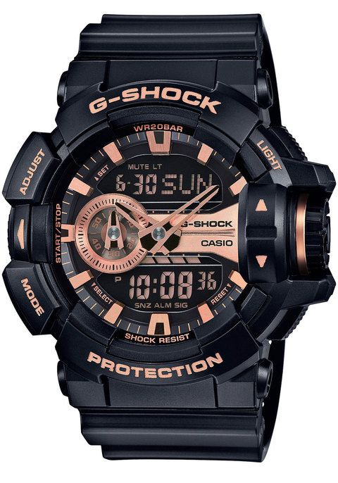 From super-tough G-SHOCK comes a new collection of GA-400 with a large rotary switch for intuitive operation.Basic G-SHOCK black is accented in gold to create a HIP-HOP artist or B-BOY fashion item mo