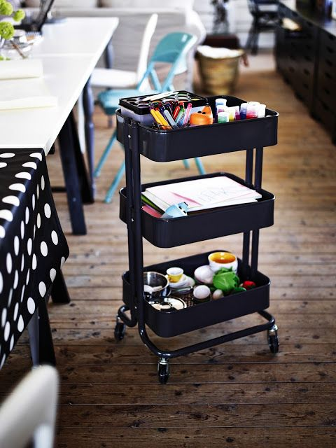 cool trolley for kids craft supply, cook books or other stuff... I have one in turquoise but now I want this too <3