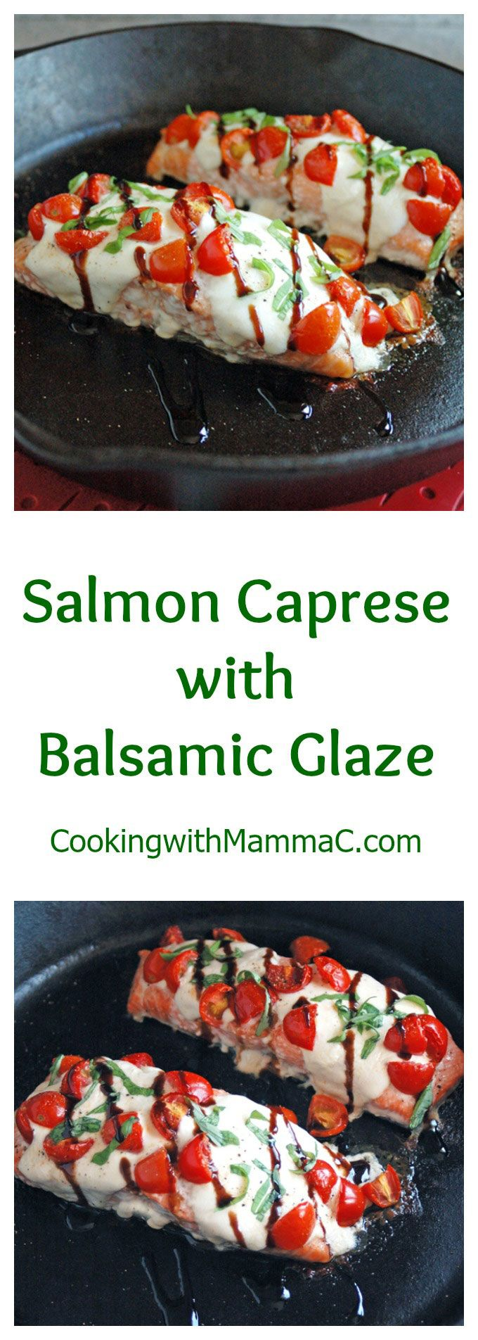 Salmon Caprese with Balsamic Glaze is the best salmon! It's so easy, yet company… (Italian Salmon Recipes)