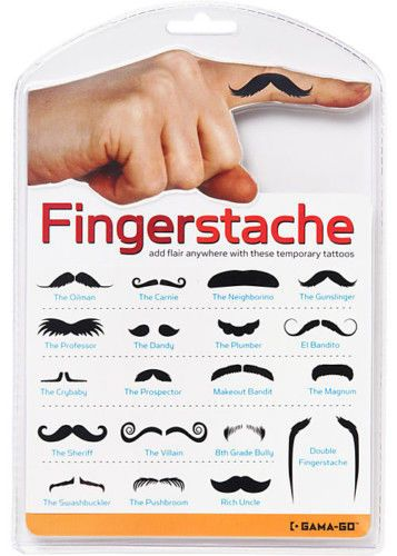 FINGERSTACHE Finger Mustache Tattoo Joke Disguise Party Dress Up