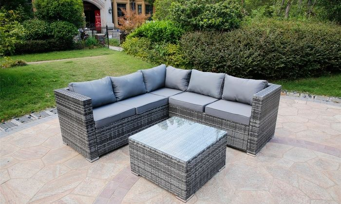Yakoe Sicily Rattan Effect Garden Furniture Set With Optional Cover Furniture Sofa Set Rattan Effect Garden Furniture Garden Furniture Sets