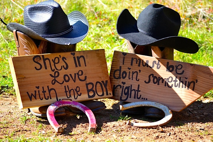 Signs we made ourselves boots hats horseshoes and my engagement ring.