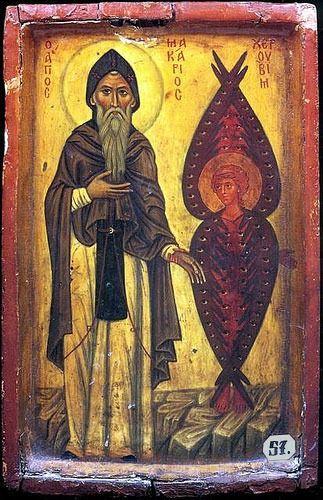 Saint Macarius of Egypt and the Cherub Unknown icon painter ca. 300- d. 391 Scetes, Egypt