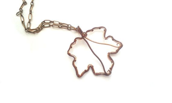 Maple Leaf Necklace Wire Wrapped Copper And by DragonflyHJewellery