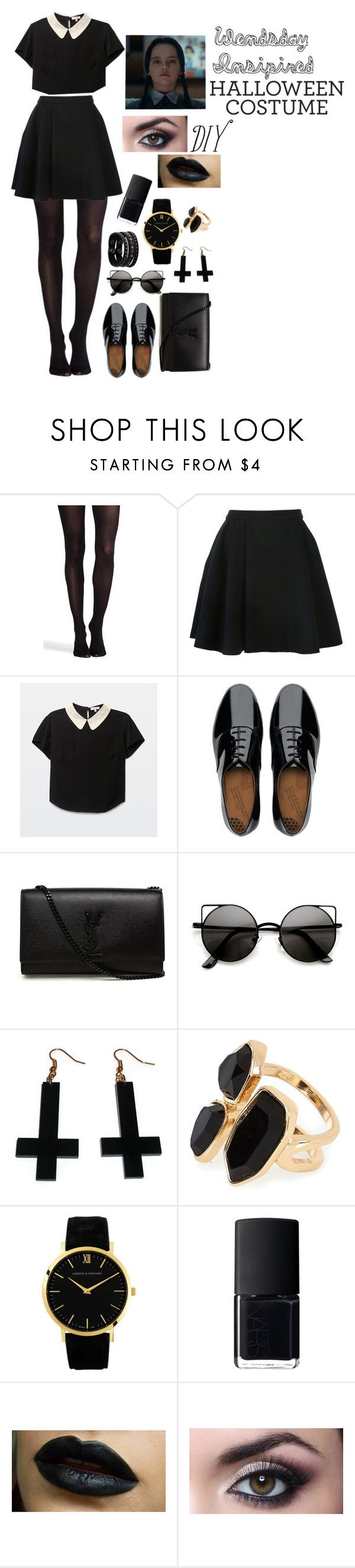 """Wednesday Addams Outfit/Costume"" by omfvalerie ❤ liked on Polyvore featuring SPANX, Avelon, FitFlop, Yves Saint Laurent, Chicnova Fashion, River Island, Larsson & Jennings, NARS Cosmetics and Replay"