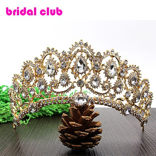 Luxurious Gold Plated Crystal Vintage Peacock Bridal Hair Accessories For Wedding Quinceanera Tiara Crown Pageant Diamante Tiara