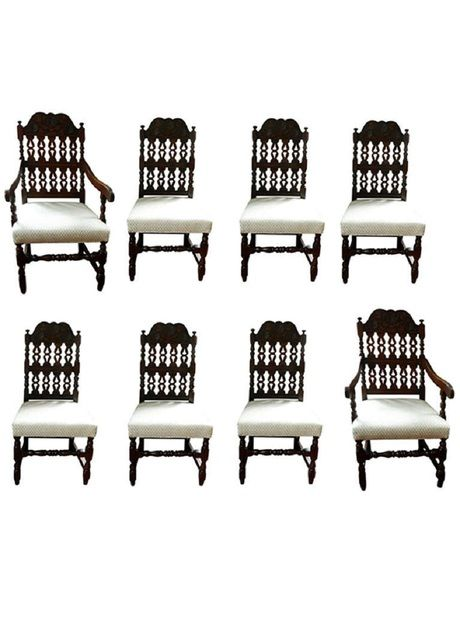 Early Century Set Of Eight Dining Chairs Includes 2 Arm And Six Side Dimensions W X D H Seat Height