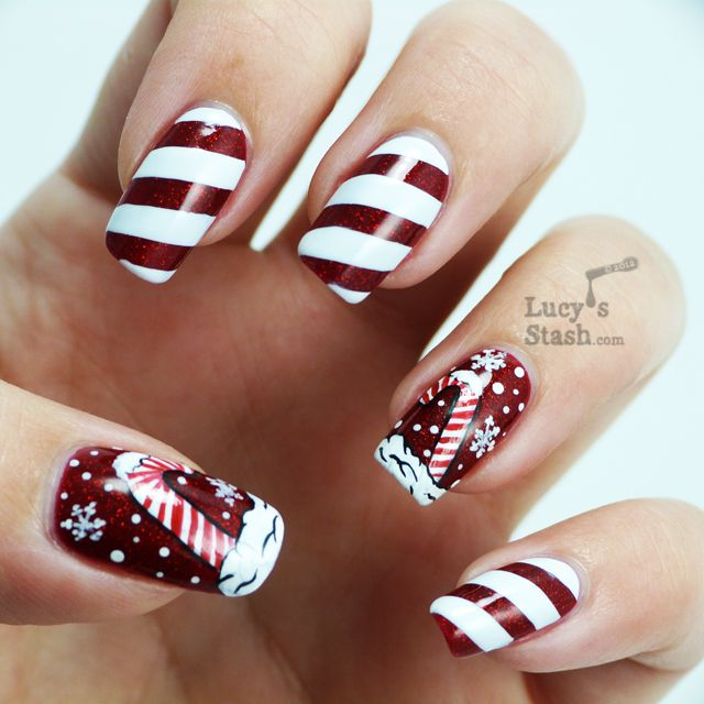 Candy cane holiday manicure and nail art competition entry! - Lucy s Stash