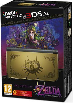 Il bundle New Nintendo 3DS XL The Legend of Zelda: Majora's Mask 3D Edition comprende una copia preinstallata di The Legend of Zelda: Majora's Mask 3D e una console New Nintendo 3DS XL con una decorazione ispirata al gioco.