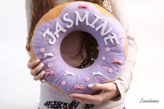 Customizable donut cushion with your name lavender by Lanatema