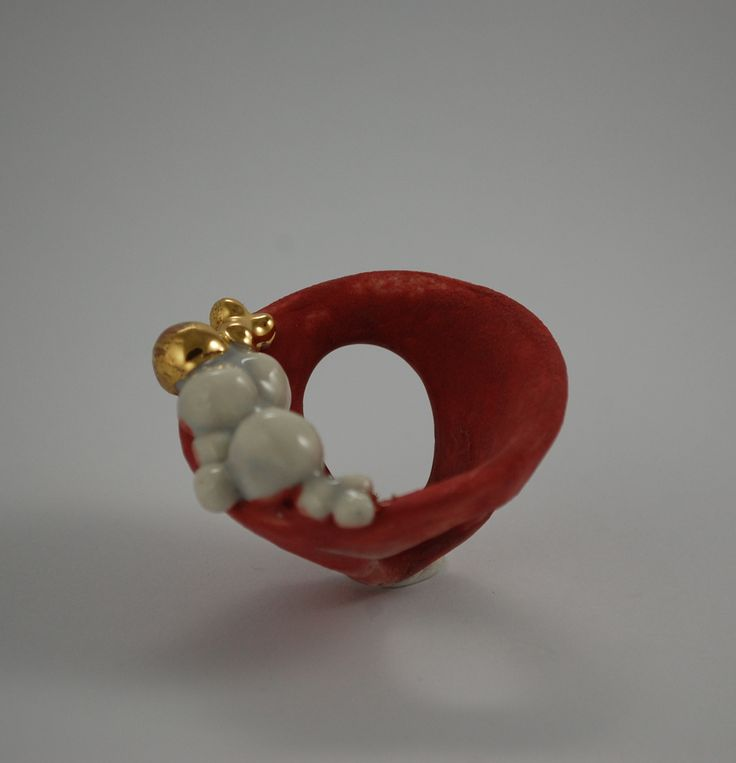 Ring - porcelain, gold, handmade, unique EG Eleonora Ghilardi Jewels