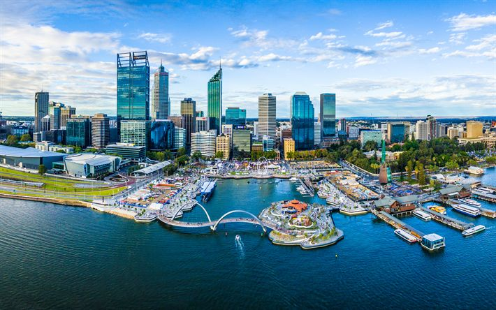 Download wallpapers Perth, 4k, Elizabeth Quay, skyscrapers, business center, modern architecture, bay, yachts, Australia
