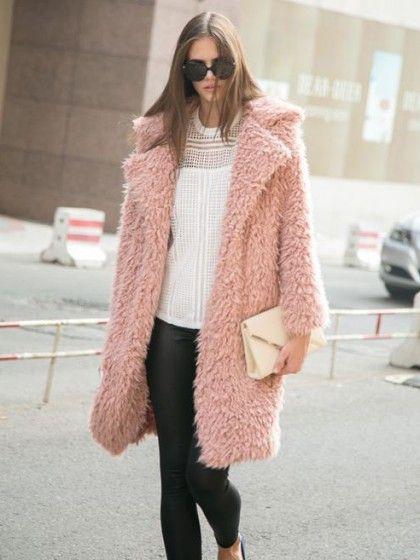 Pink Quality Lapel Long Line Soft Faux Fur Warm Coat   Choies
