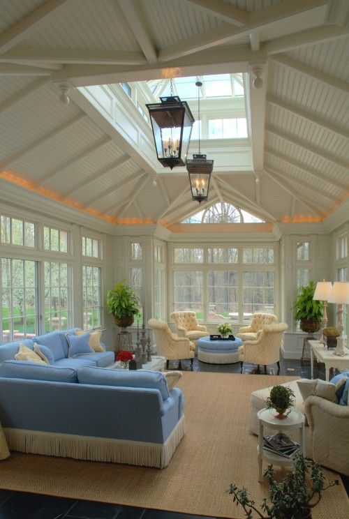 Gorgeous #sunroom. Light and bright. #Blue accents. #interior