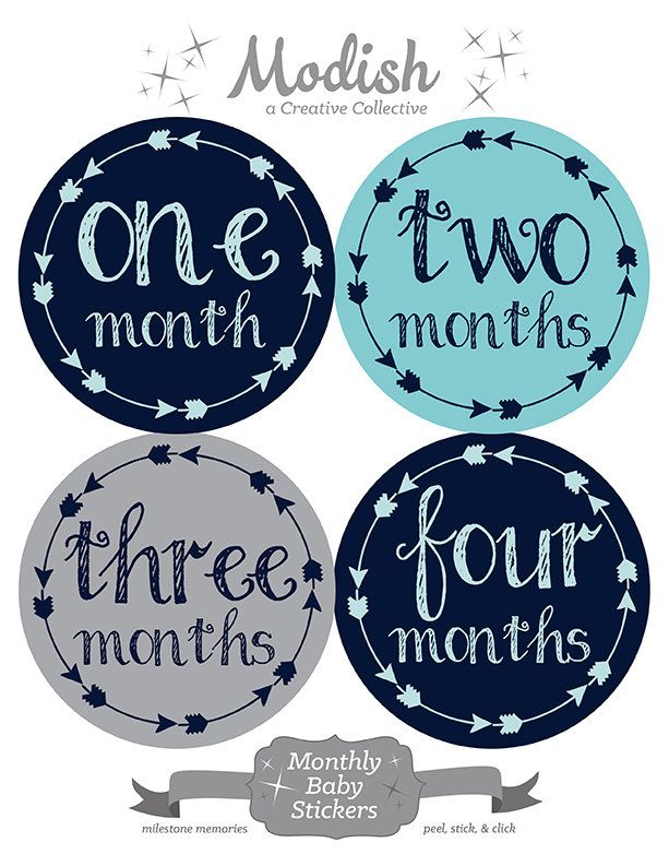 FREE GIFT, Tribal Arrow Month Stickers, Baby Month Stickers, Baby Boy, Navy, Aqua, Gray, Grey, Monthly Baby Stickers, Monthly Onesie Sticker