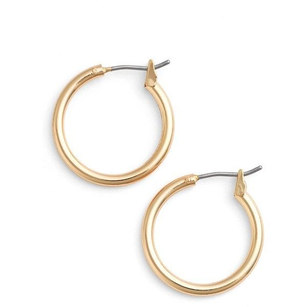 Women's Nordstrom 'Clean' Small Hoop Earrings ($19) ❤ liked on Polyvore featuring jewelry, earrings, gold, nordstrom jewelry, gold jewellery, gold jewelry, hoop earrings and polish jewelry
