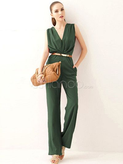 Daily Hunter Green Pleated Polyester Women's Jumpsuits