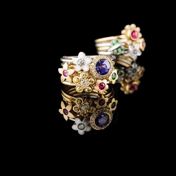 Stack these beautiful Flower rings your way. Made in 18ct golds and set with diamonds or precious stones