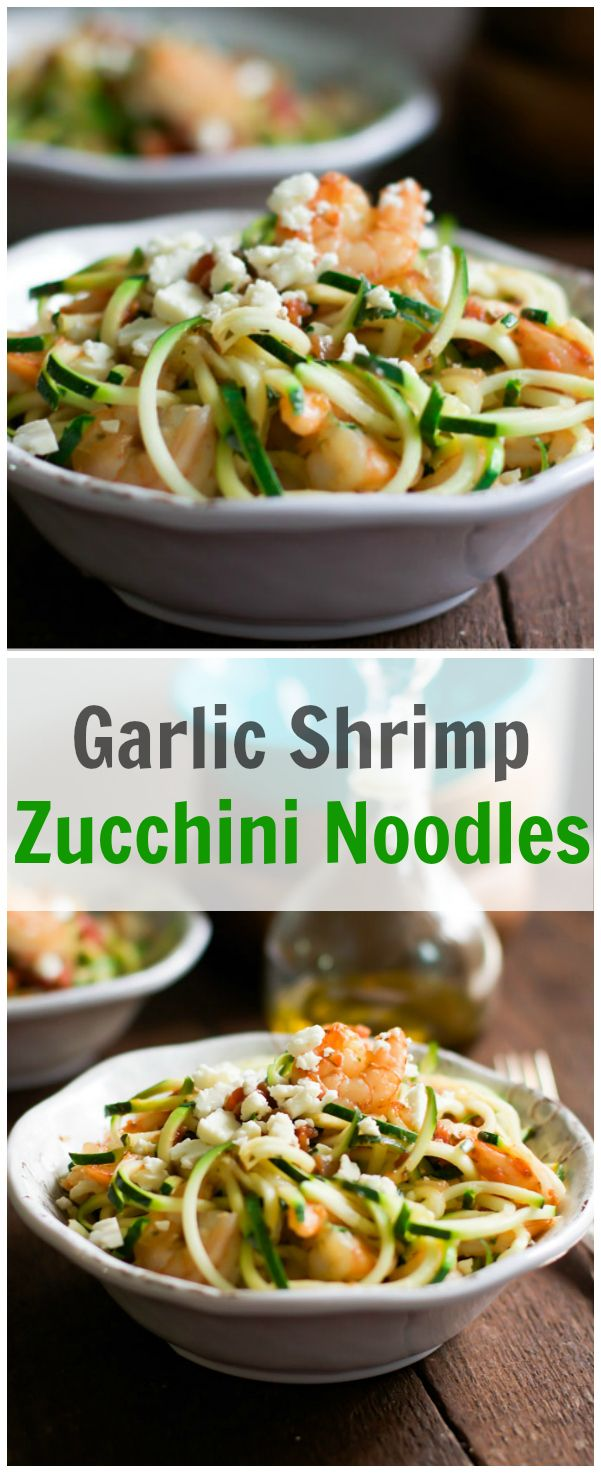 This is a quick and easy Garlic Shrimp with Zucchini Noodles recipe loaded with nutrients that makes a healthy and delicious gluten free and paleo weeknight meal.  primaverakitchen.com