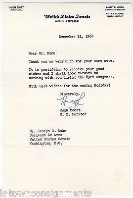 HUGH SCOTT PENNSYLVANIA SENATOR AUTOGRAPH SIGNED LETTER TO SERGEANT AT ARMS 1964