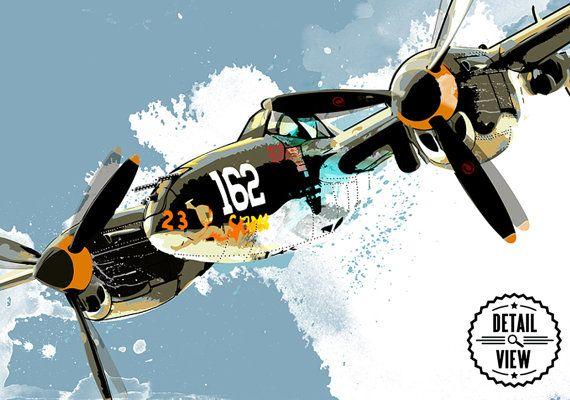 Vliegtuig Decor P-38 Lightning WWII van MediaGraffitiStudio op Etsy