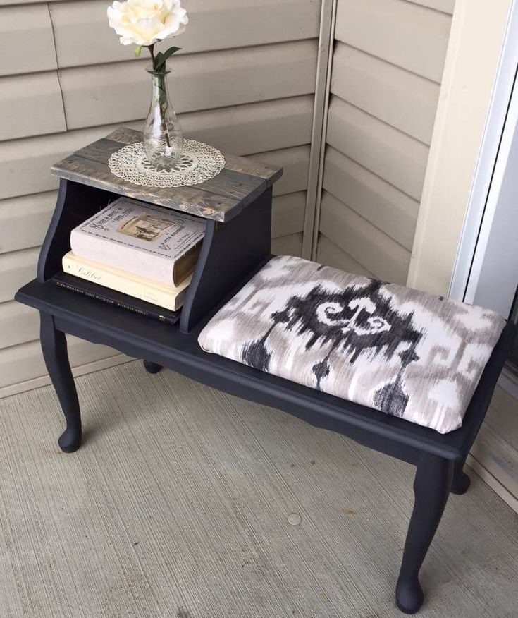 "A cute little telephone table (or ""gossip bench"" as they used to call it!). Painted in Charcoal, and sealed with clear wax. The seat has been reupholstered to match the Charcoal paint, as well as the grey stain used for the tabletop ~The Decor Vault~ www.facebook.com/thedecorvault"