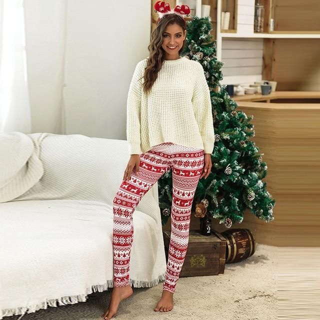 3XL Plus Size Christmas Snowflake Elk Print Home Tights Warm Bottoming Pants Pencil Slim Long Leggings Elasticity Printed Pants