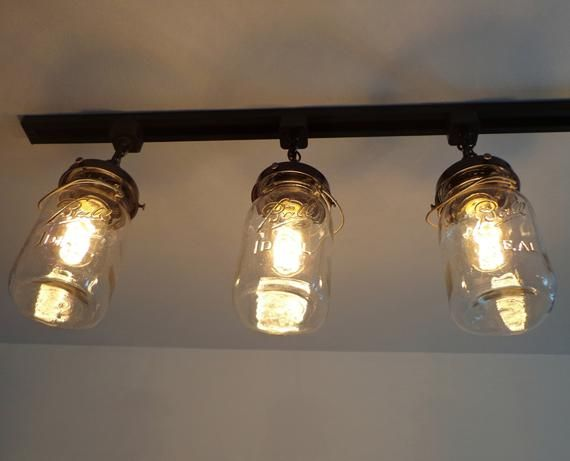 Mason Jar Track Lighting With Vintage Quarts Etsy Track