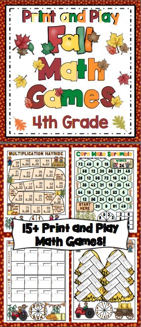 Fall Math Games and Centers: 4th Grade Print and Play (No Prep) Your students will have a blast while working on Common Core math skills with this set of 15+ fall themed math games. All the games are 1 page with the spinner on the game board. All you need to do is print and play! $