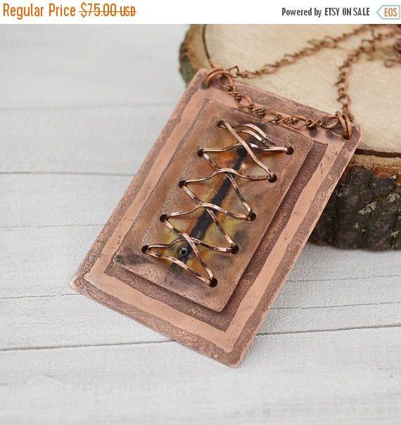 ON SALE Corselette copper necklace Copper pendant Big pendant  #coppernecklace, #copperpendant, #bigcoppernecklace