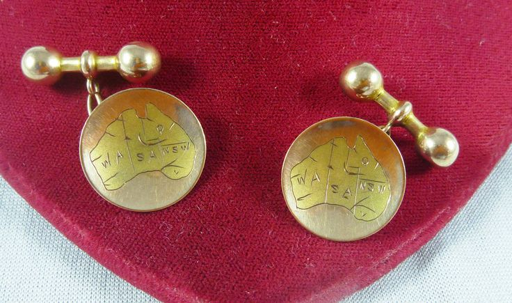 ANTIQUE 9CT K ROSE GOLD AUSTRALIAN MADE CUFF LINKS BY PERRYMAN AUSTRALIA MAP