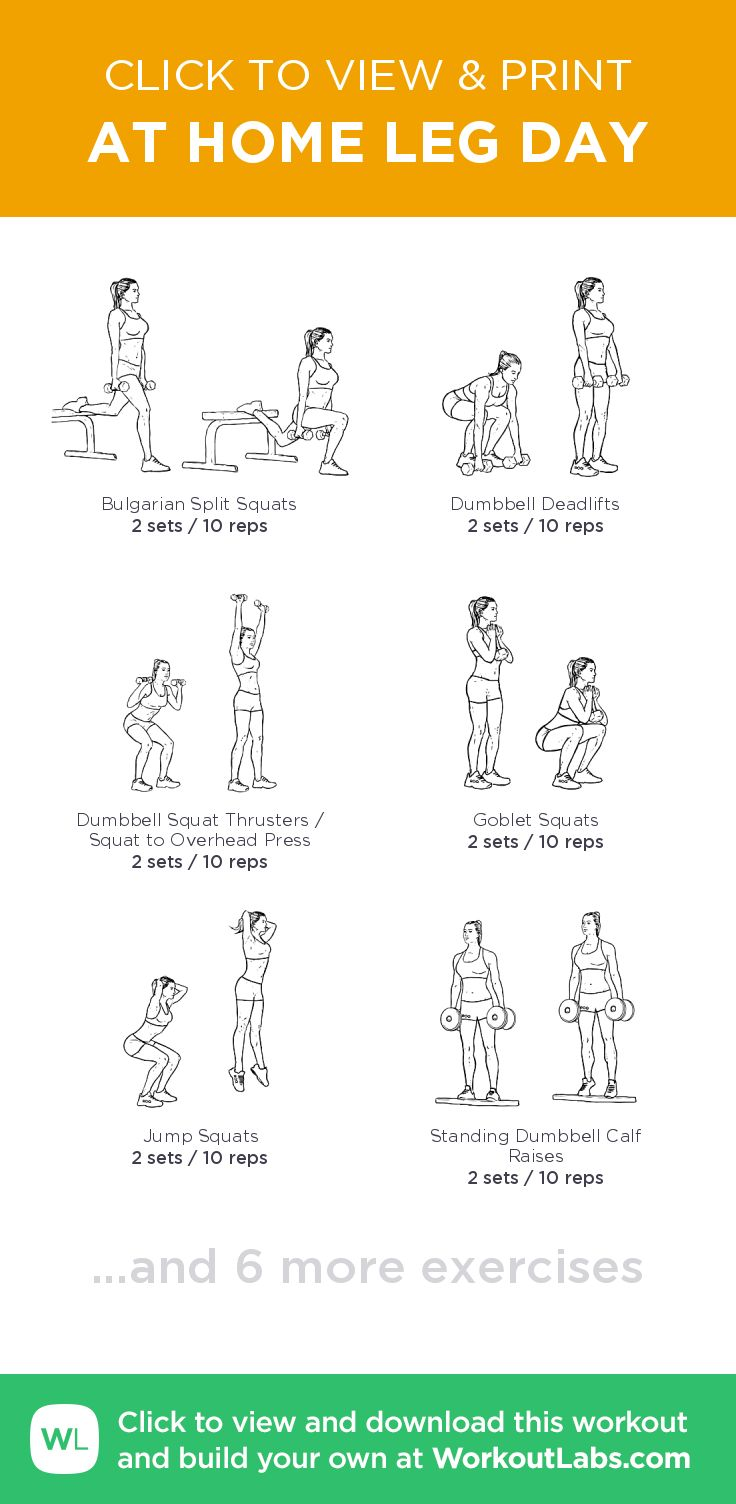 AT HOME LEG DAY – click to view and print this illustrated exercise plan created with #WorkoutLabsFit