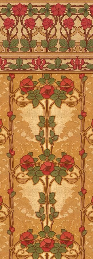 Rose Vine wallpaper, late Victorian, early Arts & Crafts, 1890-1910