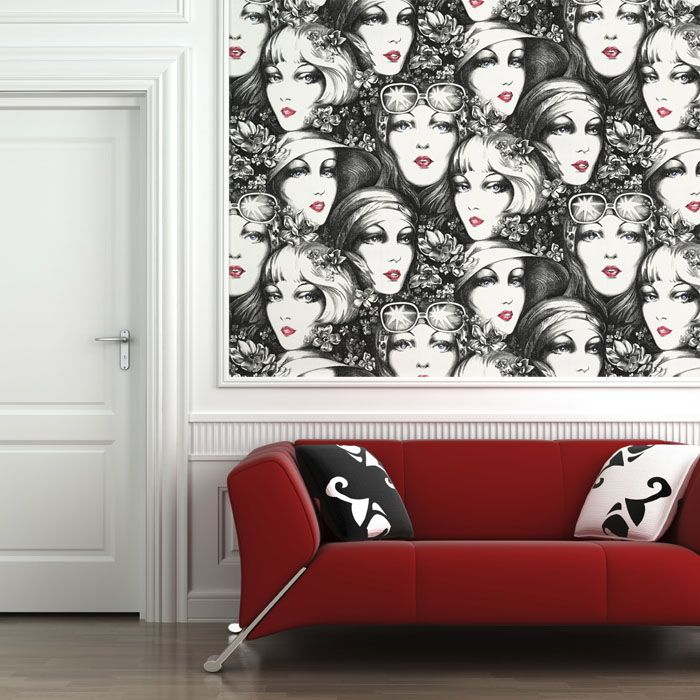 Vintage Faces Wallpaper Tile - would be sweet in the hall bath