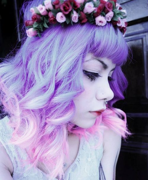 Purple to pink dip dyed hair