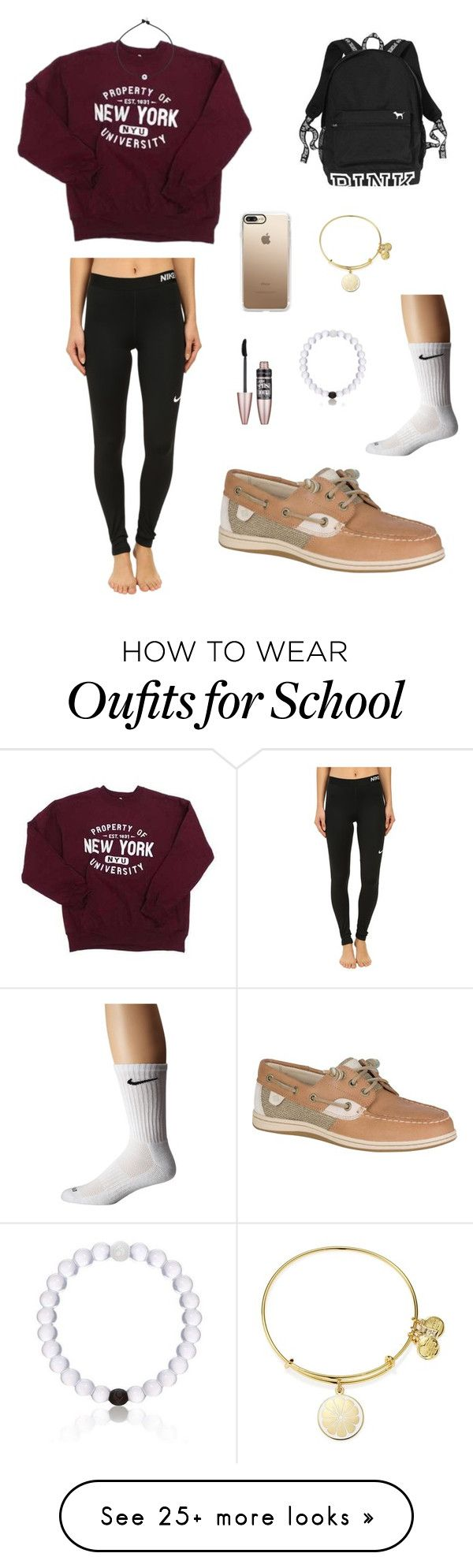 """Comfy School Outfit !!"" by ekrischan on Polyvore featuring NIKE, Sperry, Casetify, Maybelline, Alex and Ani and Victoria's Secret"