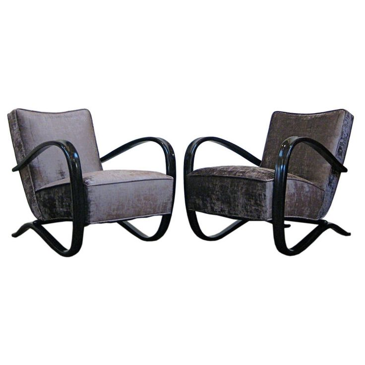 Pair of club chairs by Czech designer Jindrich Halabala