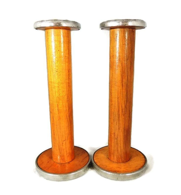 Vintage Industrial Wood Spools Large Candle Holders – Premier Estate Gallery